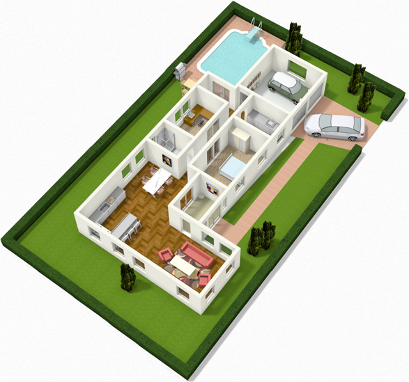 Create floor plans house plans and home plans online with House plan 3d online